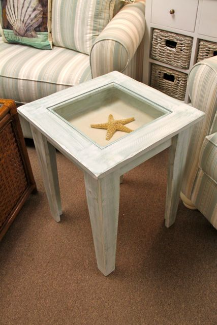 Shadow Box End Table For Your Beach House Keepsakes!