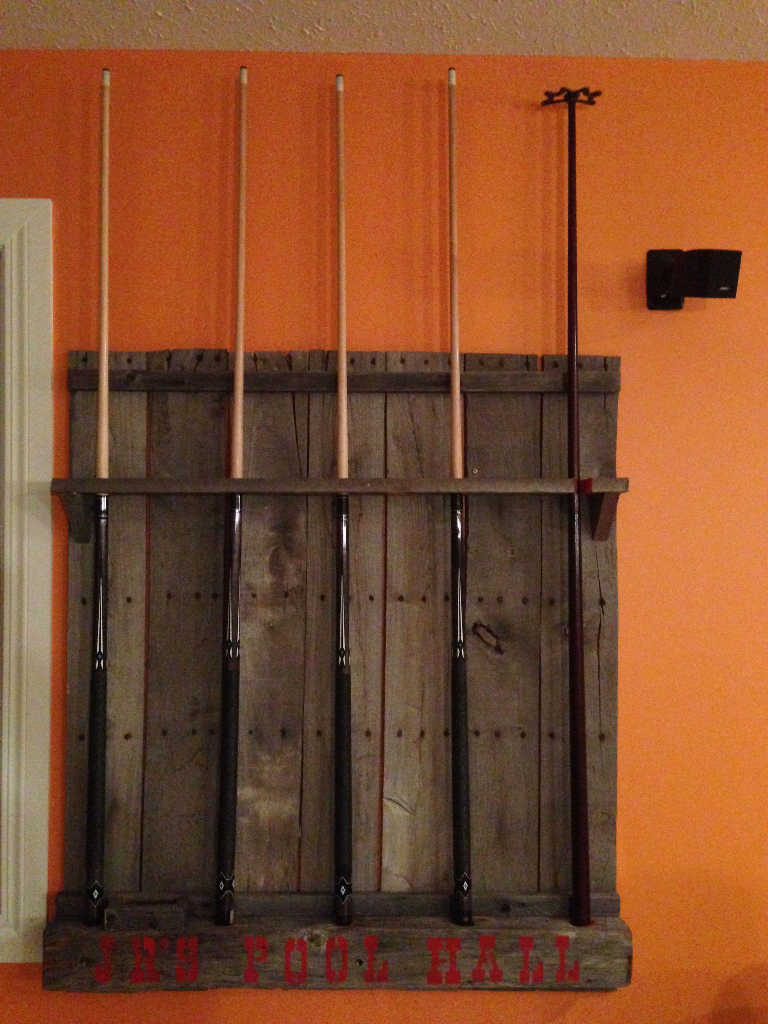 Reclaimed Wood Pool Cue Rack Used Old Bin Wood And Power Pole Pieces Pool Cue Rack Diy Pool Pool Sticks