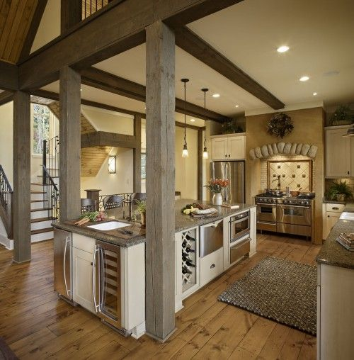 Kitchen Peninsula With Column: Country Style Kitchens