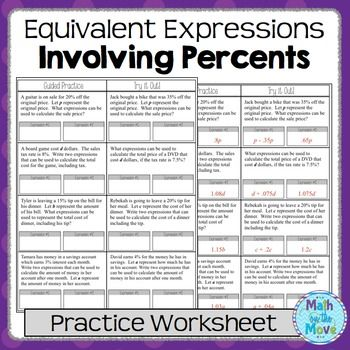 Expressions And Percents  Worksheet Ee  Math