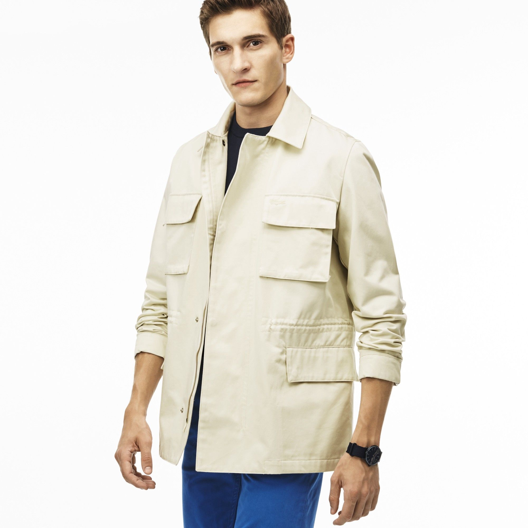 a95541e9b18 LACOSTE Men s Gabardine Various Pockets Zippered Jacket - MARZIPAN.  lacoste   cloth