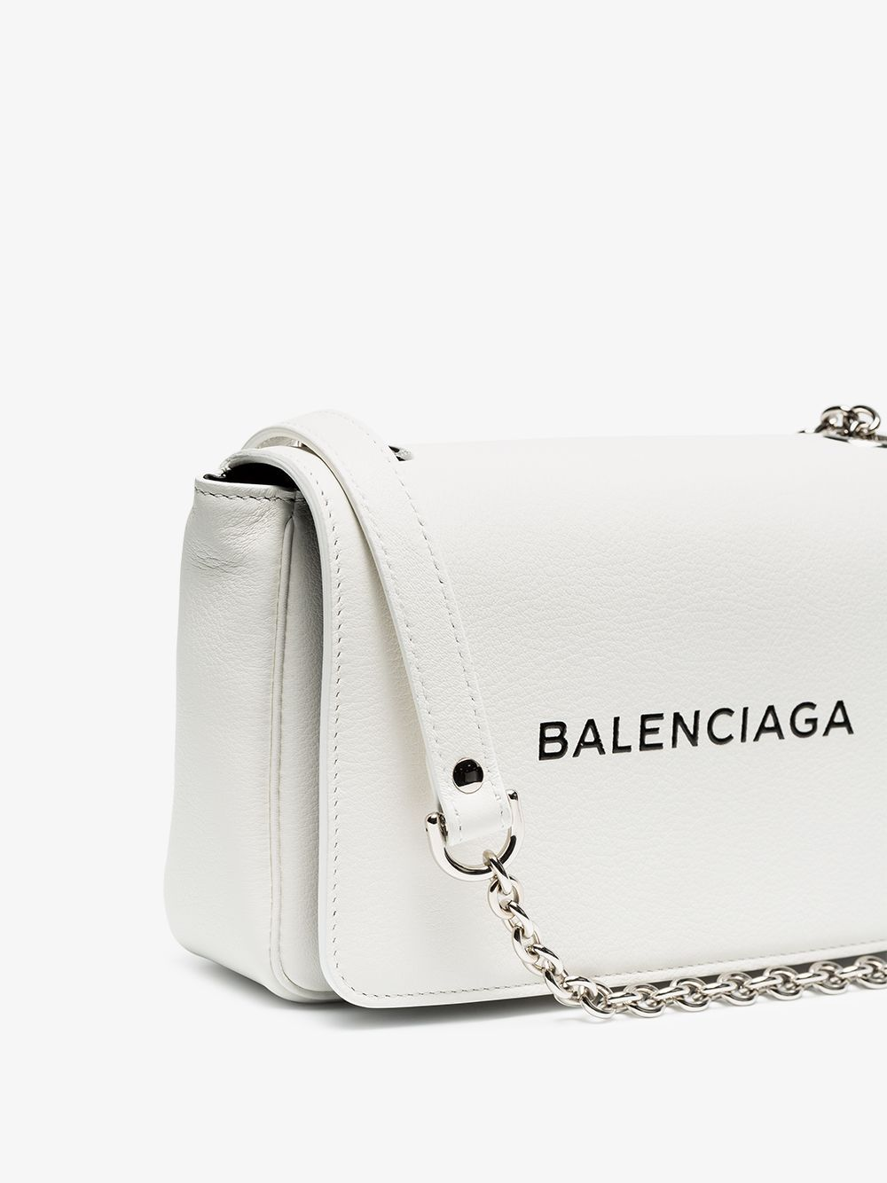 white Everyday small leather clutch on chain  3cba24f9d4891