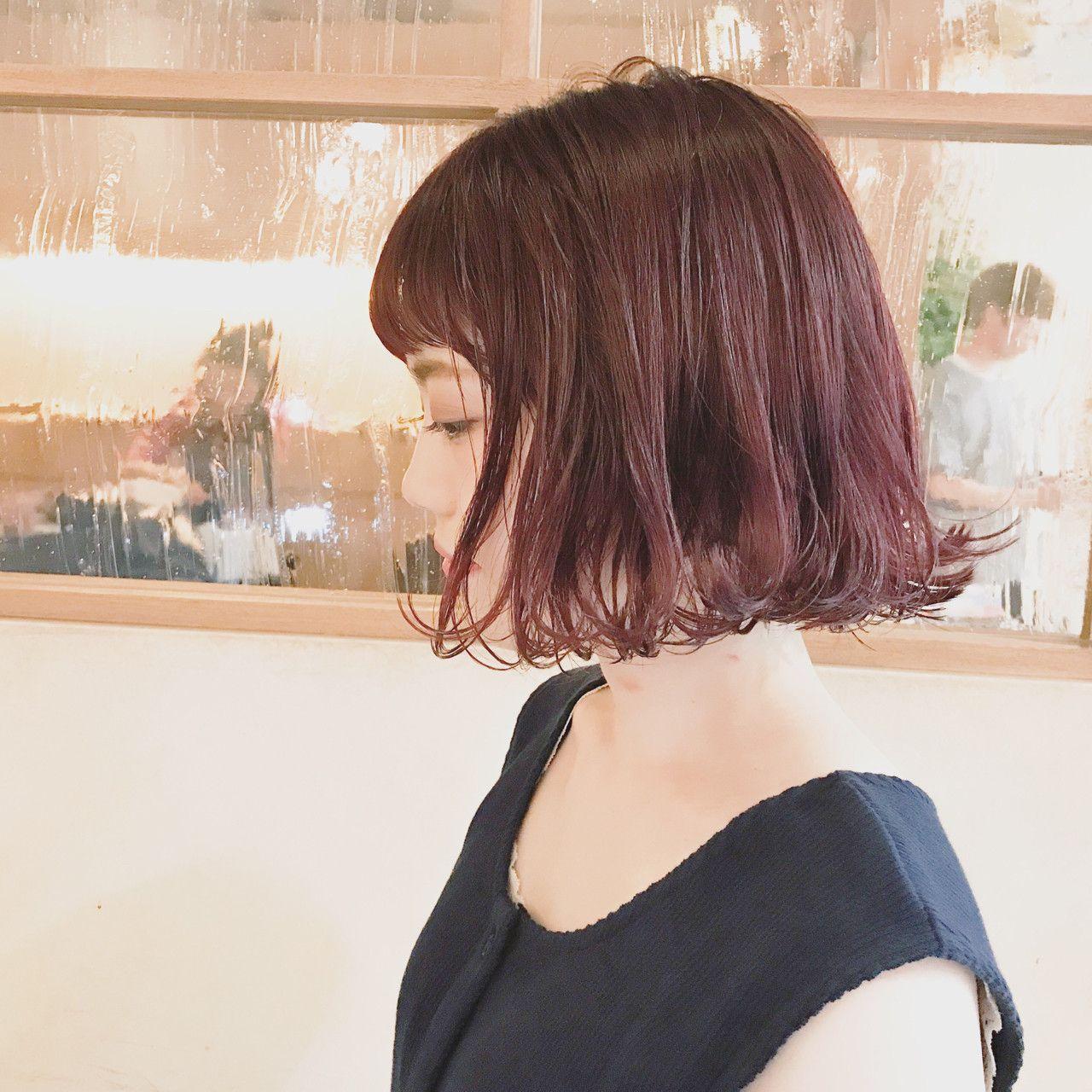 マーメイドピンクx切りっぱなしボブで思い切り可愛く 髪色