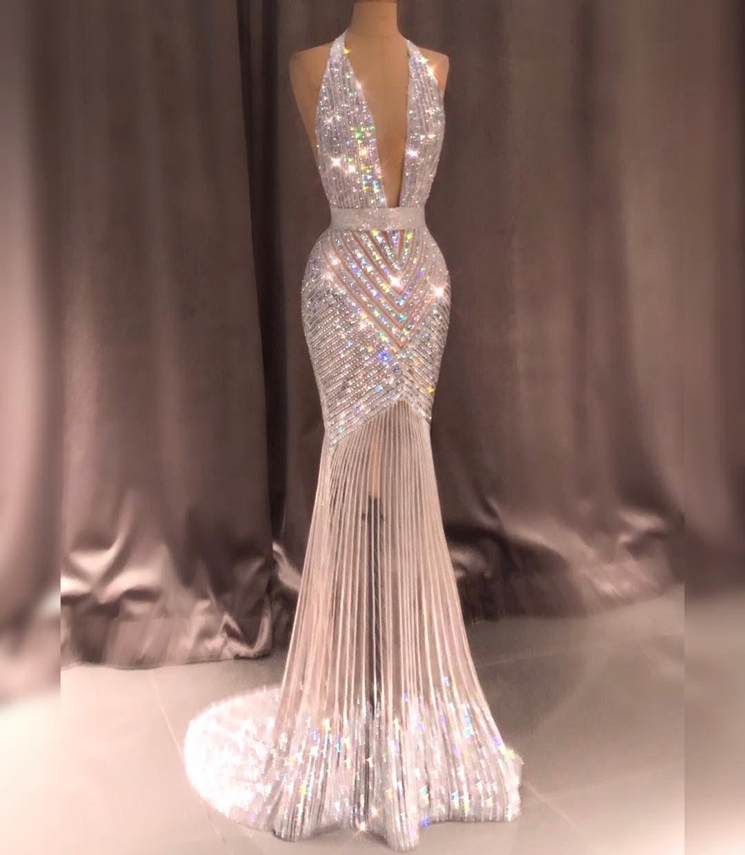 "19df55f292 Ali Karoui on Instagram: ""@alikaroui Haute Couture White Diamond Gown  Handmade Embroidered with crystal @swarovski 💎 #AliKaroui  #AliKarouiCouture ..."