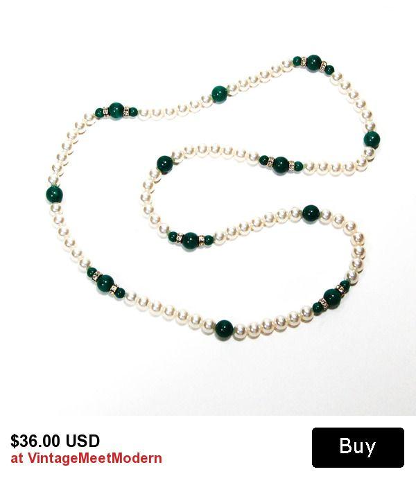 Glass Pearl Emerald Green Jade Art Glass and Rhinestone Necklace