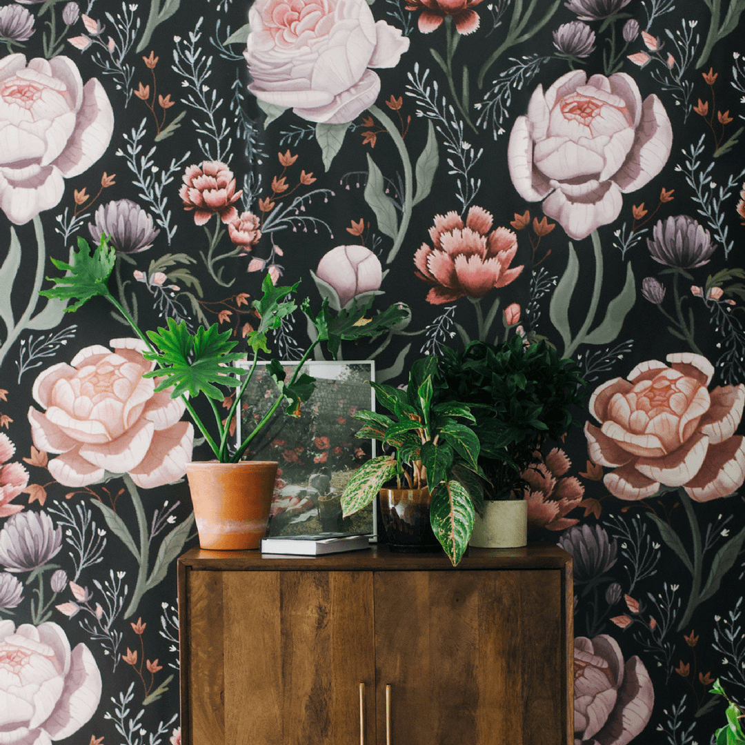 Rose Le Soir Wallpaper Mural Spotted Wallpaper Swan Wallpaper