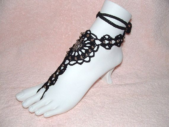 Barefoot Sandals  Black Pair with Turtle by gilmoreproducts33, $19.00