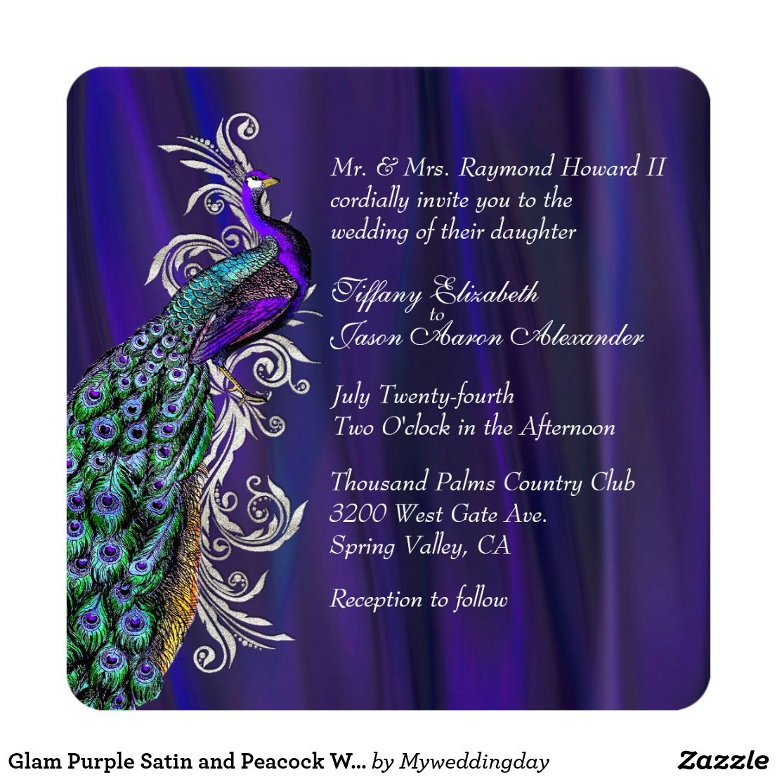 Glam Purple Satin And Peacock Wedding Invitation Purple Satin And