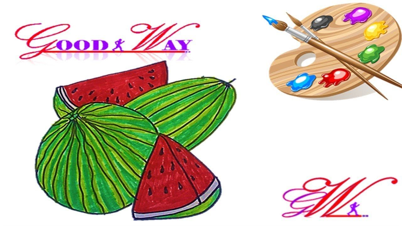 طريقة رسم وتلوين بطيخ او جح او حبحب او رقي How To Draw A Watermelon Cards Enamel Pins