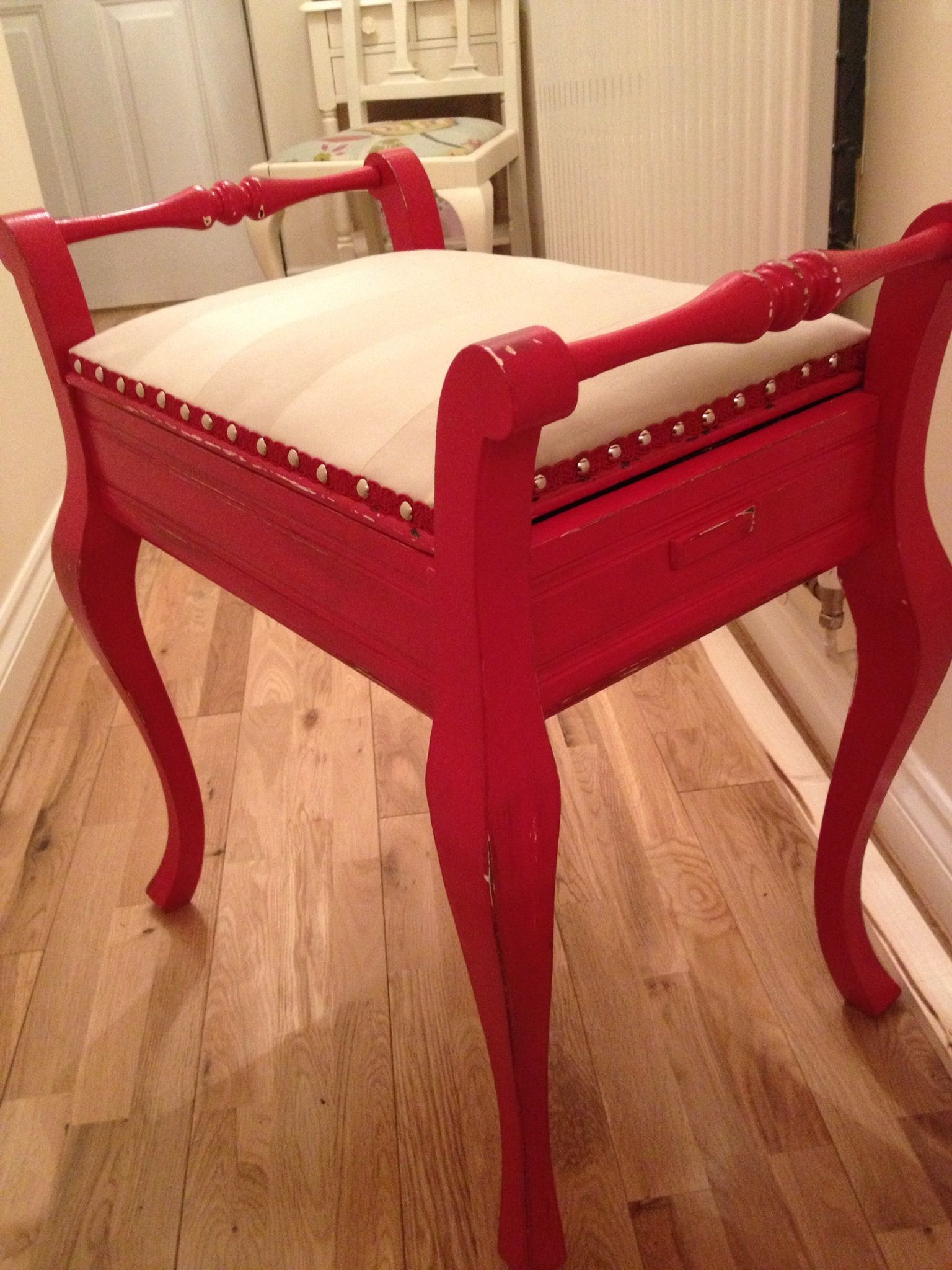 Painted And Re Upholstered Piano Stool Piano Stool