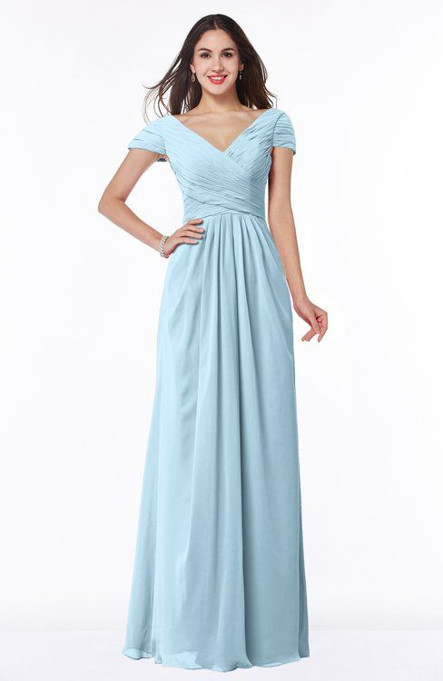 09d57670e9062 Ice Blue Glamorous A-line Short Sleeve Floor Length Ruching Plus Size Bridesmaid  Dresses