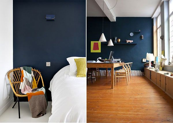 le bleu fonc dans la d co tout un mur peint en bleu. Black Bedroom Furniture Sets. Home Design Ideas