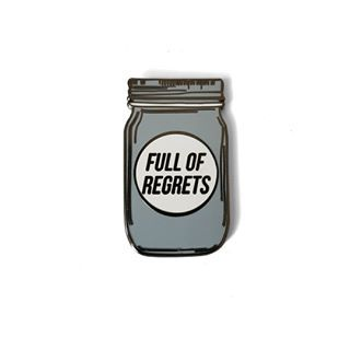 I love this pin so much!!!  I have many regrets in life, most of which stem from years of heavy drinking, but starting this business definitely wasn't one of them! What are your biggest or funniest regrets? [To pick up your own Full of Regrets pin follow the shop link in profile]    Image description: enamel pin in the shape of a mason jar with the words