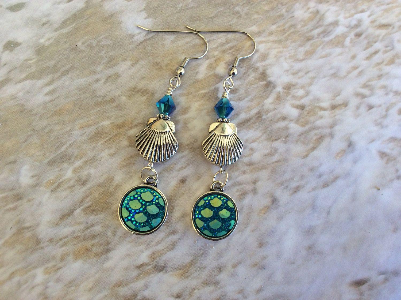 Mermaid Earrings, Mermaid scales, Ocean, Beach, Seashell ...
