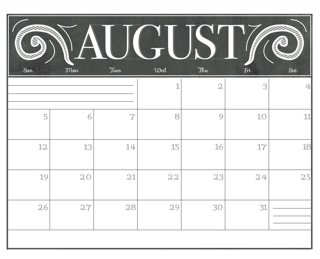 August 2018 Calendar Pdf Chalkboard Calendar Calendar Printables Printable Blank Calendar