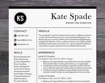 Professional Resume Template | CV Template | Mac Or PC | Modern  Professional Resume Template | Instant Download Resume | The Kate