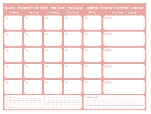 Printable Monthly Planner On Behance  Organize It