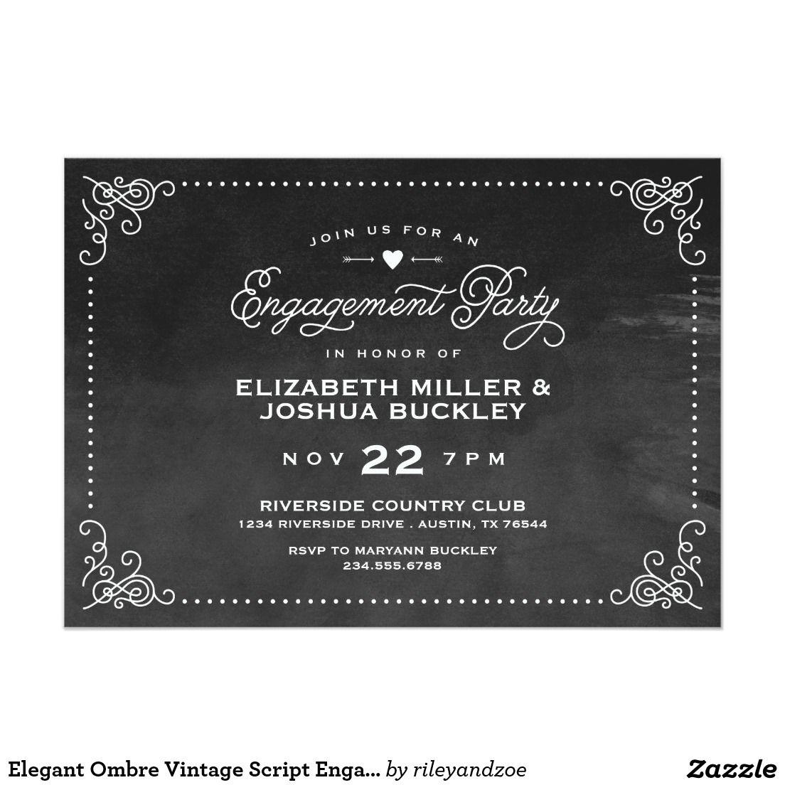 Elegant Ombre Vintage Script Engagement Party Card   Wedding ...