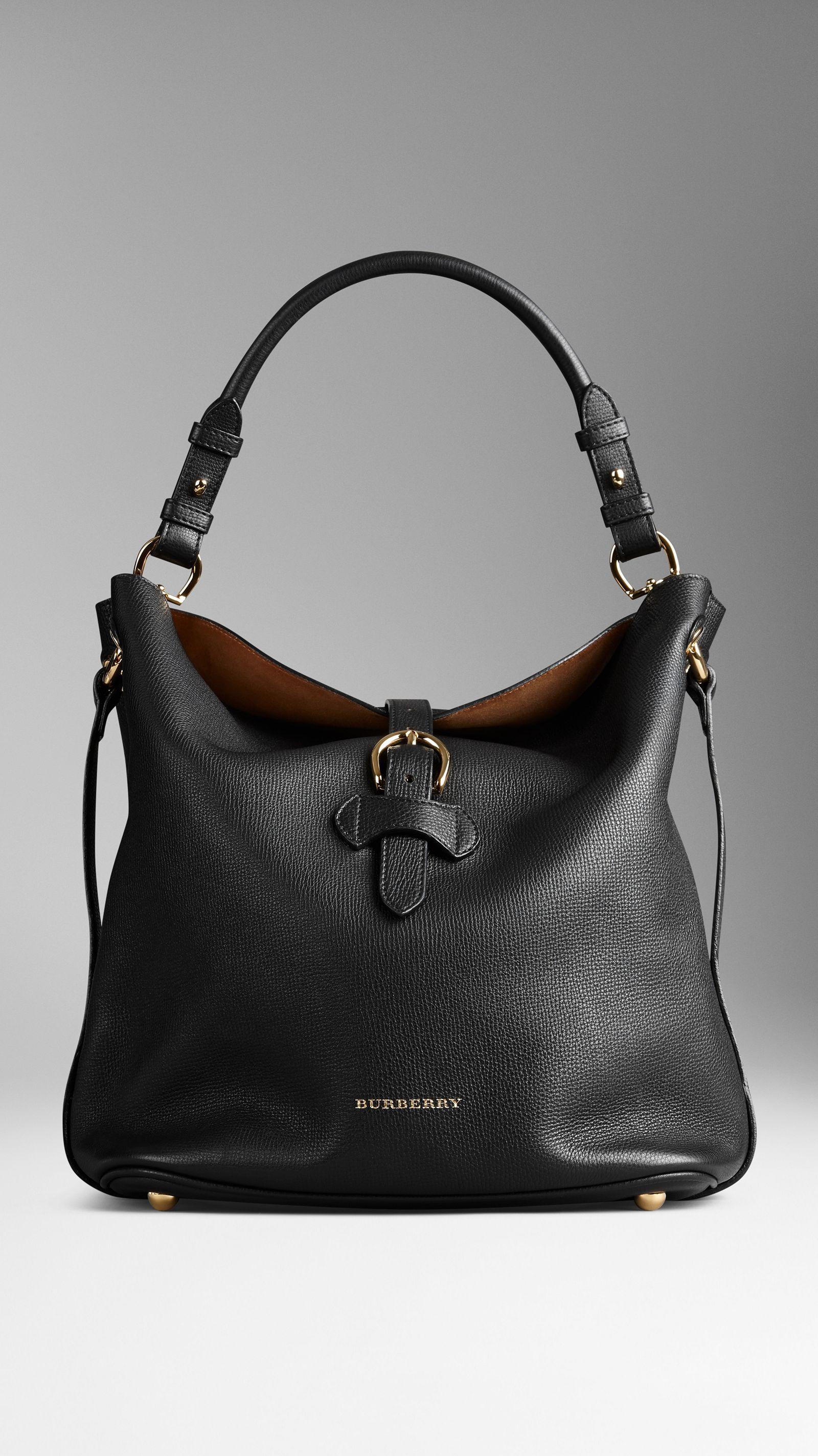 69243909d37c Medium Buckle Detail Leather Hobo Bag