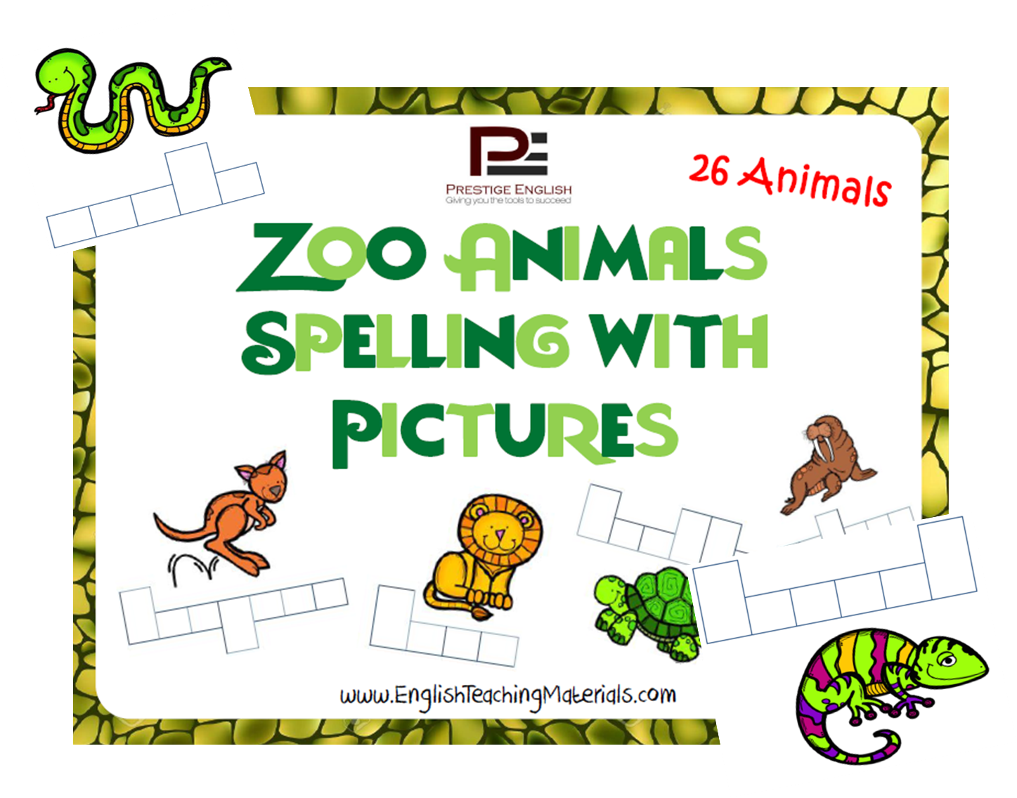 Zoo Animals Spelling With Pictures