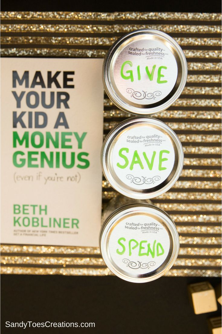 3 jars rule to teach kids about money. Give, save, spend #moneygenius ad @bethkobliner