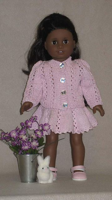 "Ravelry: American Girl 18"" doll Lacy Knit Jacket with Skirt pattern by Ase Bence"