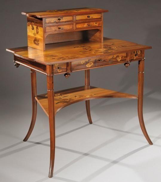 Emile Galle 1846 1904 Nancy Mahogany Desk With Fruit Wood Inlays Meubles Art Nouveau Interieur Art Nouveau Mobilier De Salon