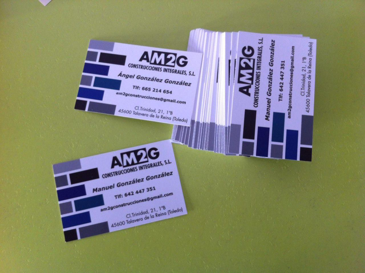 """Tarjeta de visita papel 350 gr. impresión CMYK y barnizado mate """"AM2G Construcciones Integrales"""""""