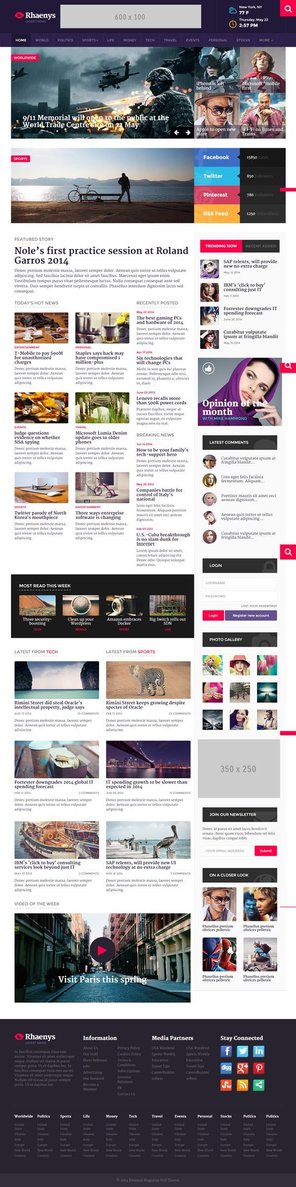 Rhaenys Magazine News Responsive Template Web Design