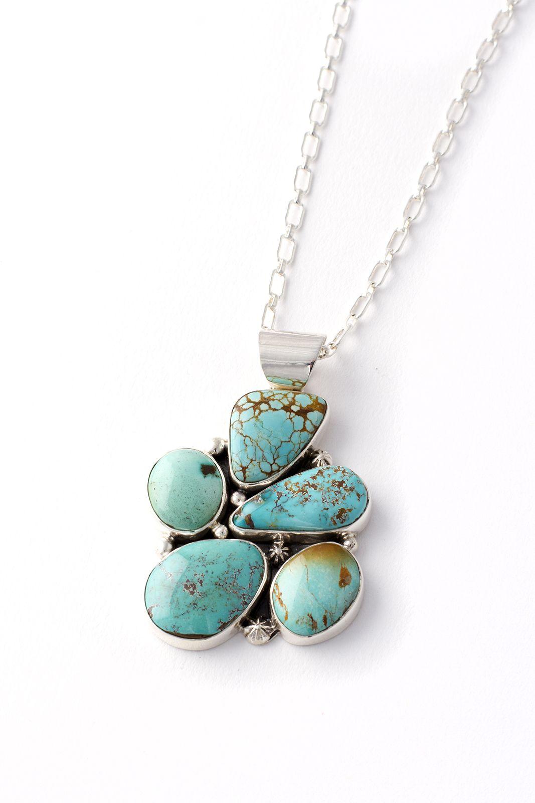 Navajo royston turquoise freeform pendant navajo sterling silver