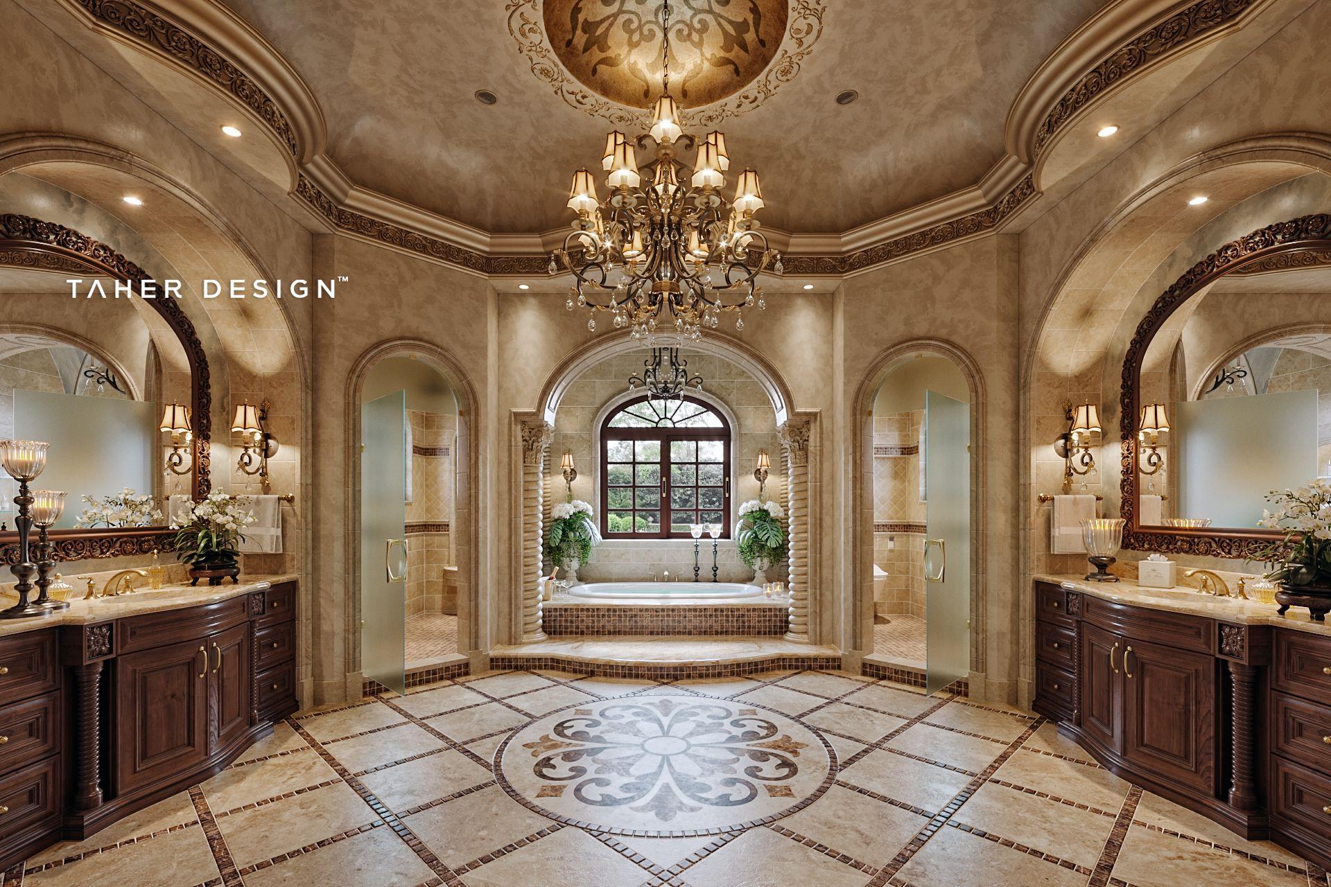 Master Bathroom Design For Luxury Mansion Located In Dubai Uae C 2017 Interior Design By Luxury Mansions Interior Mansion Interior Luxury Master Bathrooms