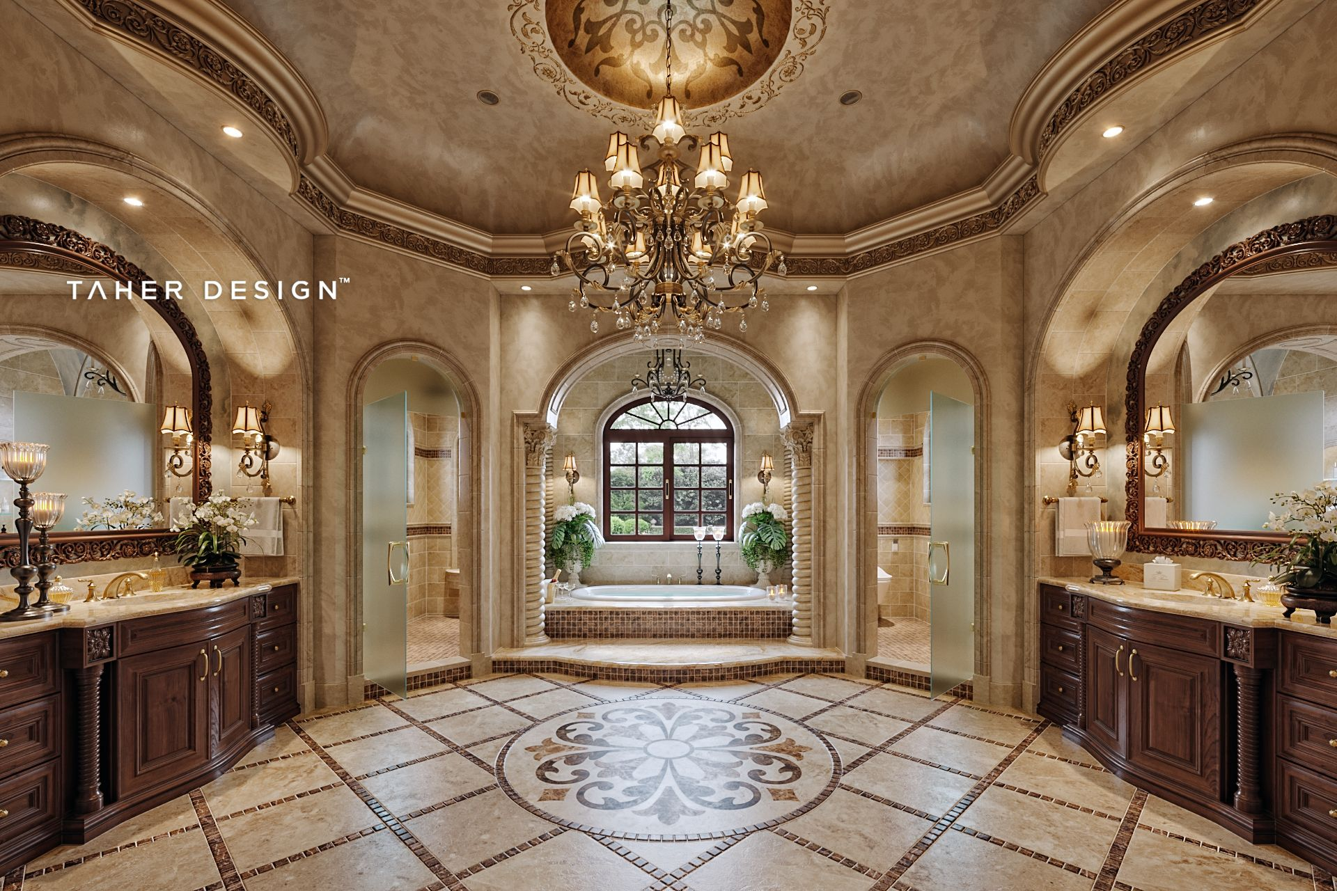 Master bathroom design for luxury mansion located in ...