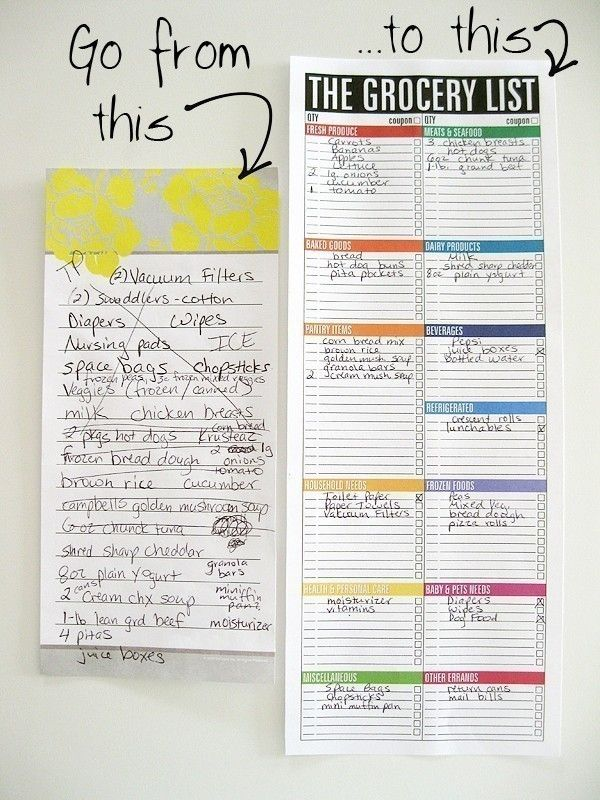 The Grocery List Notepad (large, magnetic, bright, rainbow - printable shopping list with categories