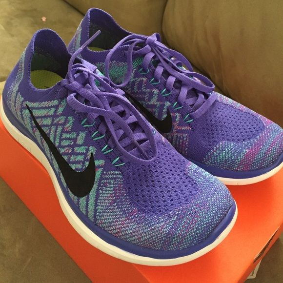 the best attitude 48bbb 03061 Brand New Womens Nike Free 4.0 Flyknit Brand New Womens Nike Free 4.0  Flyknit in Size 7.5 Color  black violet light blue Nike Shoes Athletic Shoes