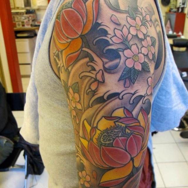Sketch For A Japanese Sleeve: Japanese Flower Half Sleeve Sketches Tattoo
