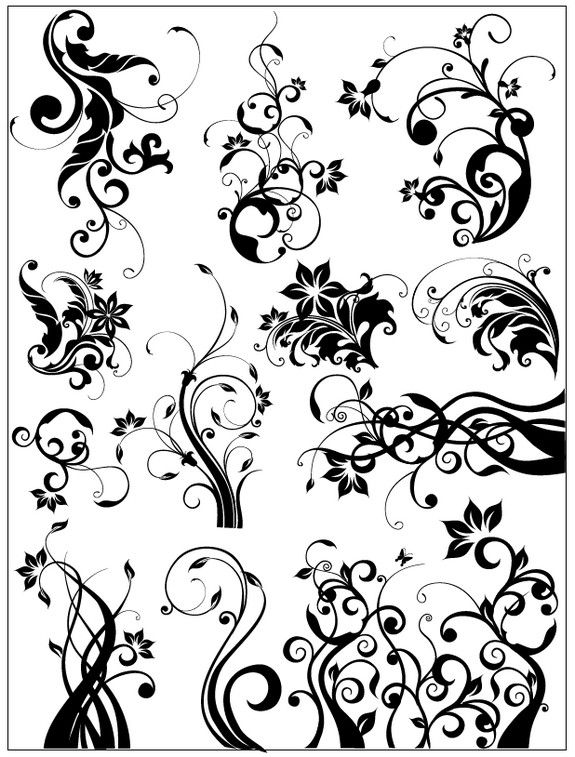 Vector Swirly Floral Vector [EPS File] | Free Vector | Pinterest ...