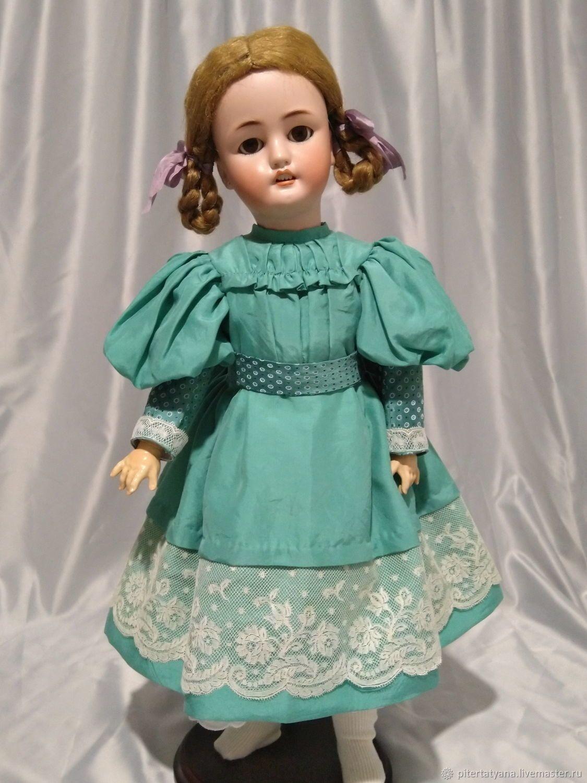 Французское платье для антикварной куклы из шелка или ...