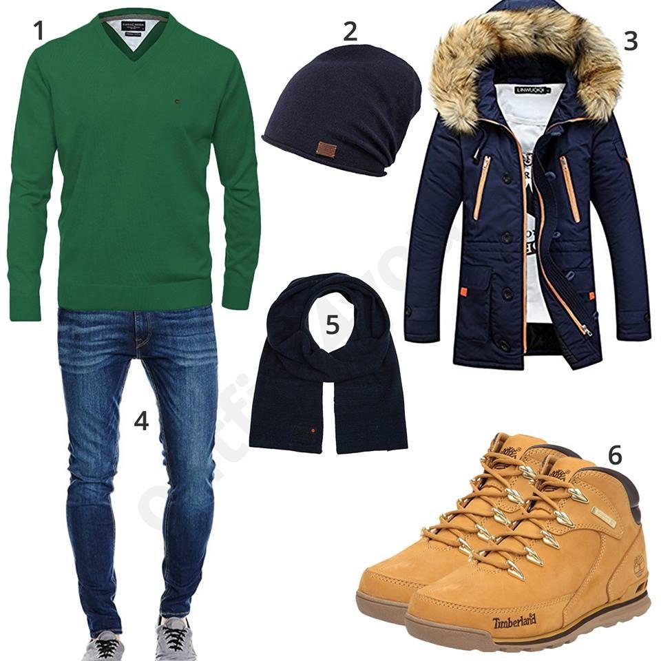 Winteroutfit mit grünem Pullover und Timberland Schuhen