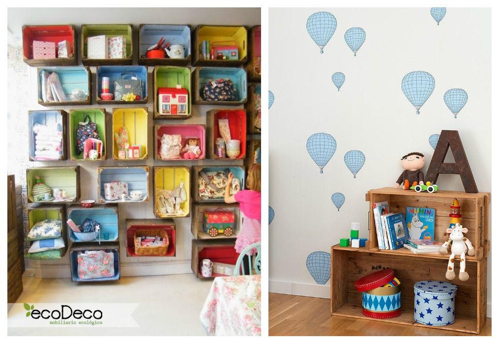 03 estanteria cajas de fruta infantil ideas cajas de - Estanteria pared infantil ...