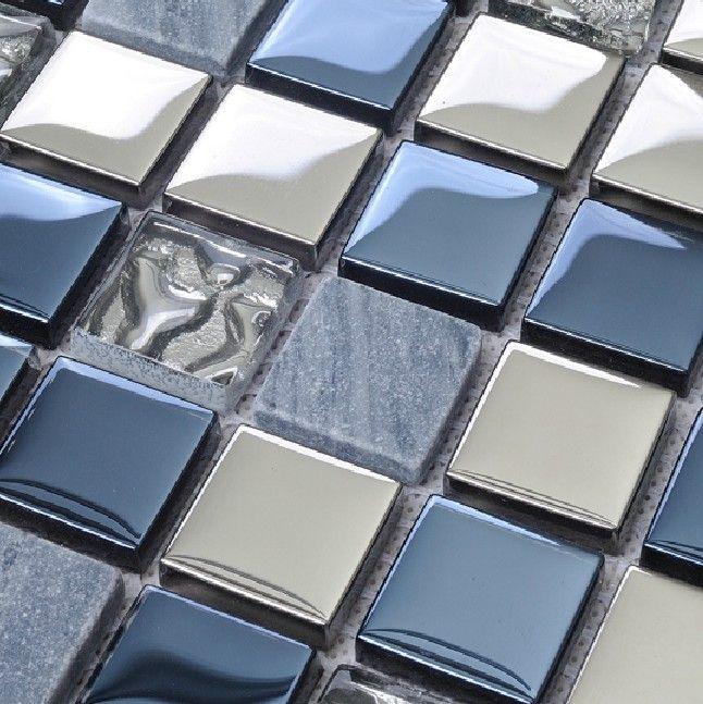 Di pietra piastrelle di vetro si fonde backsplash cucina - Mosaico vetro bagno ...