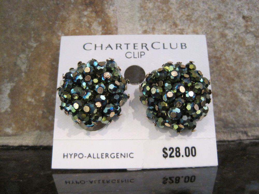 Charter Club~Gold Tone~Green Blue~Metallic Glass Bead Cluster~Clip On Earrings #Cluster