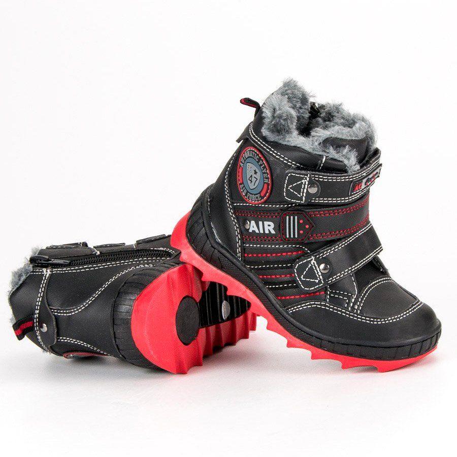 Kozaki Dla Dzieci Americanclub American Club Czarne Zimowe Obuwie Na Rzepy American Boots Winter Boot Shoes