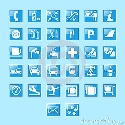 Set Of Airport Signs And Symbols Airportapp Pinterest Airport