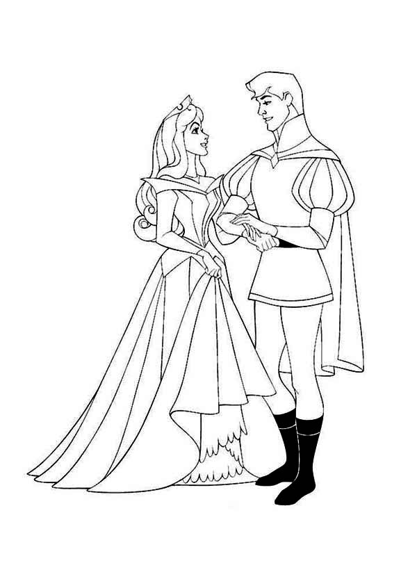 Princess Aurora And Prince Phillip Sing And Dance Together Coloring Page Download Print Online Col Princess Coloring Pages Coloring Pages Princess Coloring