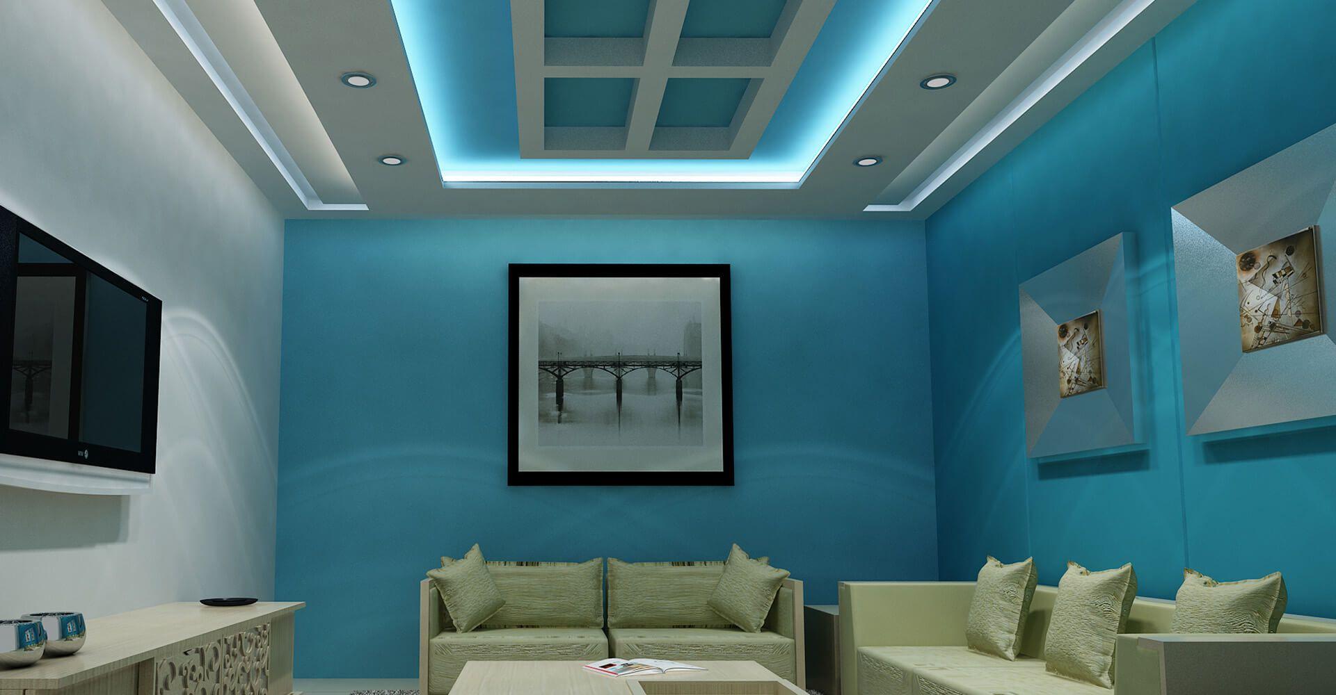 Living Room   False Ceiling   Gypsum Board   Drywall ...