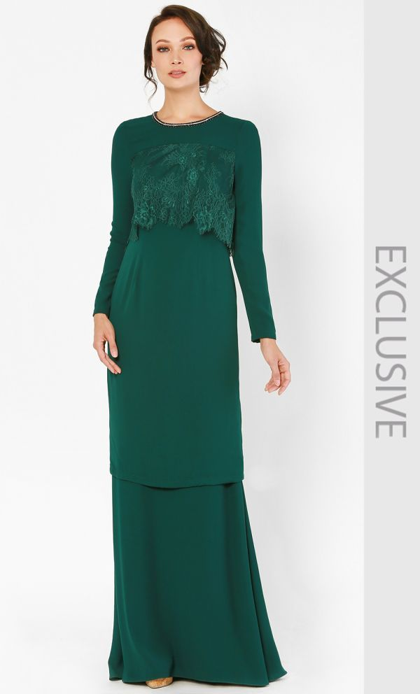Clover Kurung Set in Emerald Green  94e17c5903