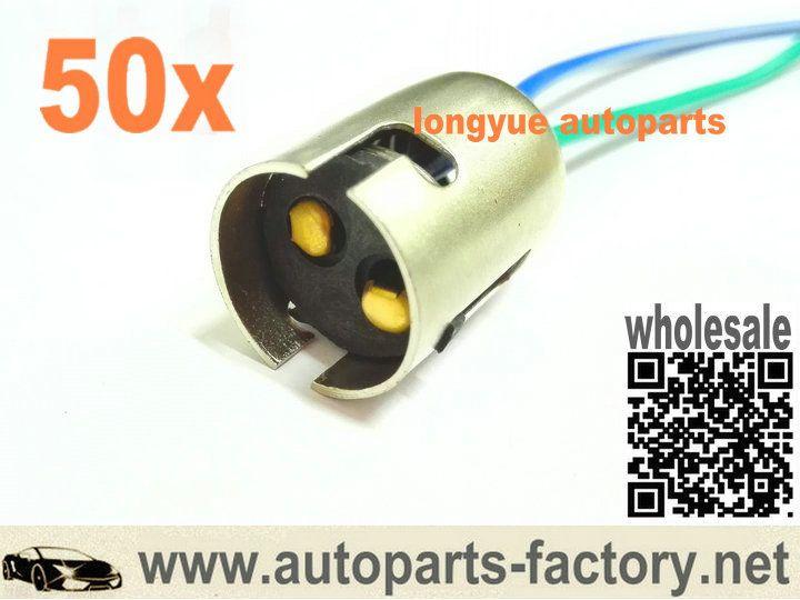 Longyue 50pcs 1157 Bulb Socket Brake Turn Signal Light Harness Wire Led Plug Signal Light Plugs Sockets