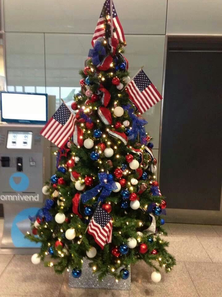 Patriotic Christmas Tree.I Would Do More Smaller Flags And Definitely Some More
