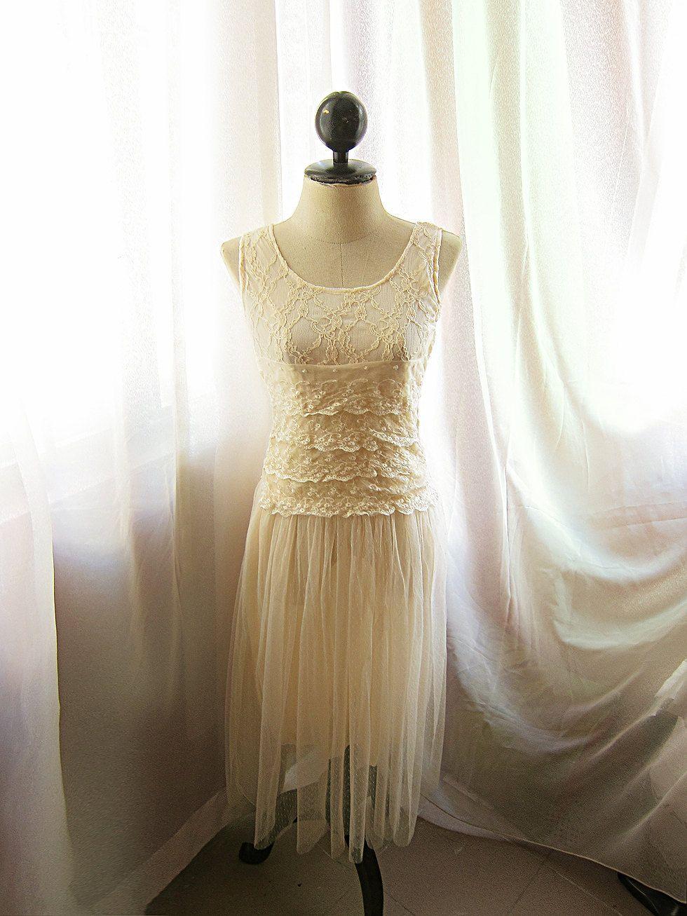 Romantic victorian cream lace bohemian dress by riverofromansk