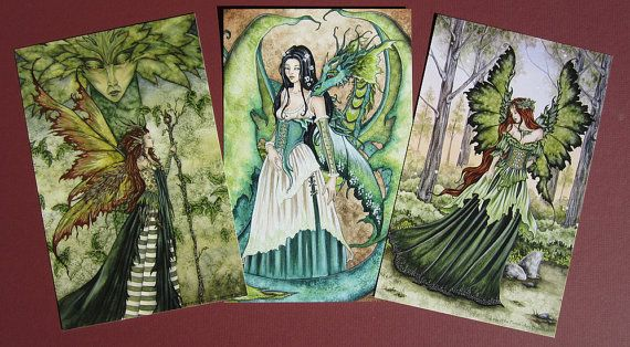 GREEN Fairy small print set by Amy Brown by AmyBrownArt on Etsy
